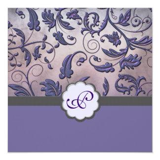 Purple Floral Monogram Invitation