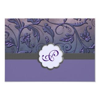 Purple Floral Monogram Response Card 9 Cm X 13 Cm Invitation Card