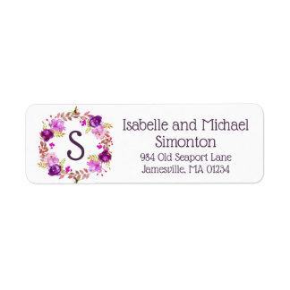 Purple Floral Monogram Return Address Labels