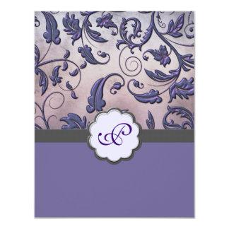 Purple Floral Monogram Save the Date 11 Cm X 14 Cm Invitation Card
