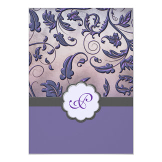 Purple Floral Monogram Wedding Invite Full Border