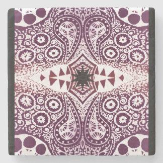 Purple Floral Paisley Mandala Stone Coaster