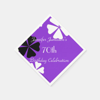 Purple Floral Paper Napkins, 70th Birthday Party Disposable Napkin