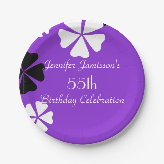 Purple Floral Paper Plates, 55th Birthday Party Paper