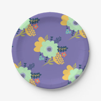 Purple floral paper plates 7 inch paper plate