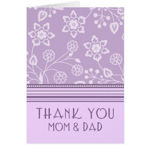 Purple Floral Parents Wedding Day Thank You Card Zazzle