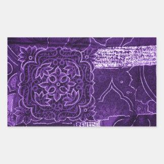 Purple Floral Patchwork Fabric Rectangular Sticker