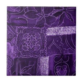 Purple Floral Patchwork Fabric Tiles