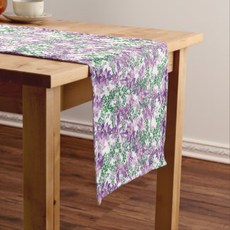 purple floral pattern dining table runner