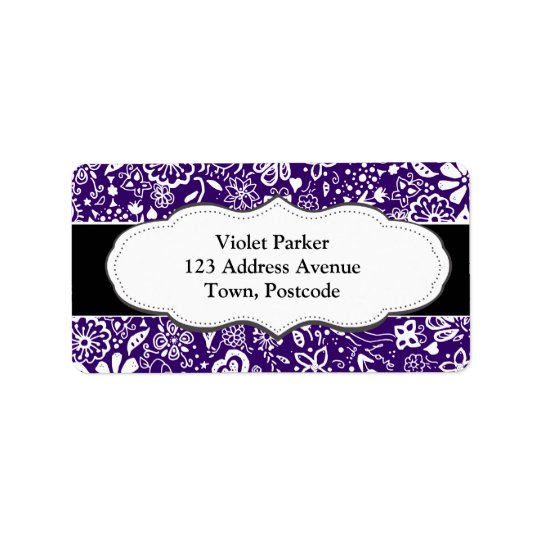 Purple Floral pattern Doodle Address Label