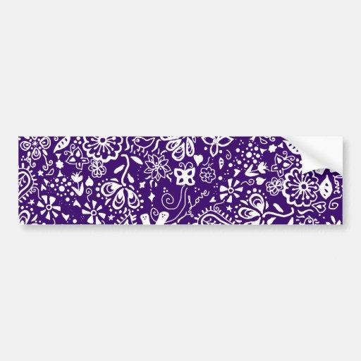 Purple Floral pattern Doodle Bumper Stickers