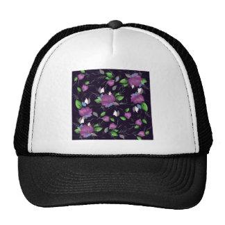 purple floral pattern hats