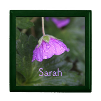 Purple Floral Personalized Large Square Gift Box