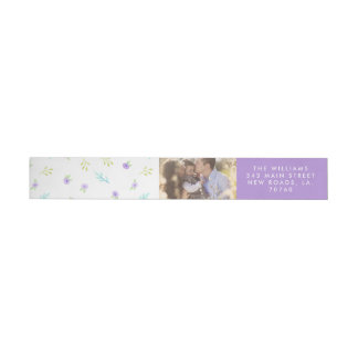 Purple Floral Photo Wrap Around Label