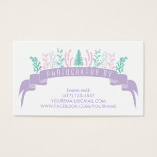 Purple Floral Photography Business Card