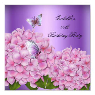Purple Floral Pink Butterfly Birthday Party Card