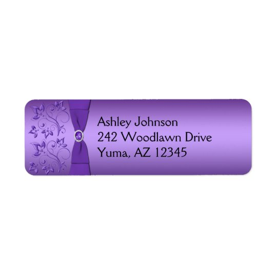 Purple Floral Return Address Label