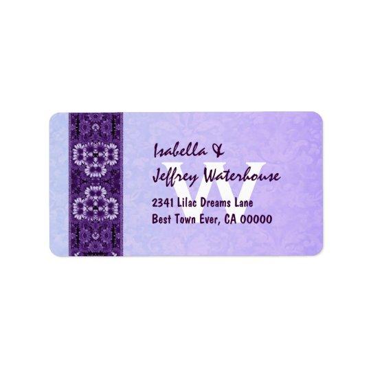 Purple Floral Ribbon with Monogram Wedding G206 Address Label