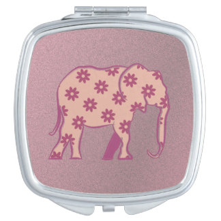 Purple Floral Romantic Elephant Cartoon Girly Chic Mirrors For Makeup