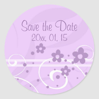 Purple Floral Save the Date Wedding Envelope Seal Round Sticker