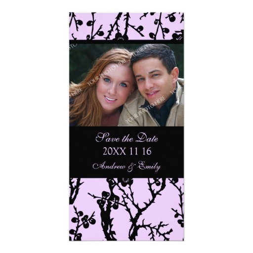 Purple Floral Save the Date Wedding Photo Cards
