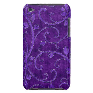 Purple Floral Sequin Glitter Velvet Look Case