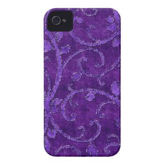 Purple Floral Sequin Glitter Velvet Look Case iPhone 4 Cases