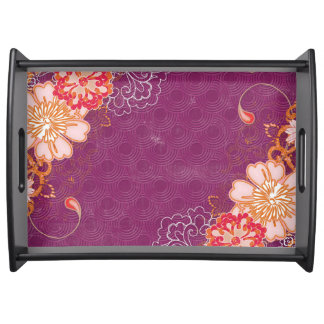 Purple Floral Serving Tray