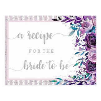 Purple Floral & Silver Bridal Shower Recipe Card