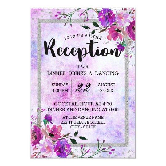 Purple Floral & Silver Frame Wedding Reception Card