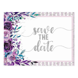 Purple Floral & Silver Wedding Save the Date Postcard