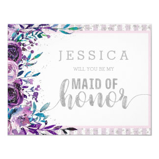 Purple Floral Silver Will You Be My Maid of Honour Card
