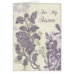 Purple Floral Sister Bridesmaid Thank You Card