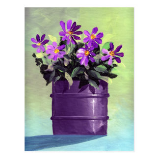 Purple Floral Still Life Postcard