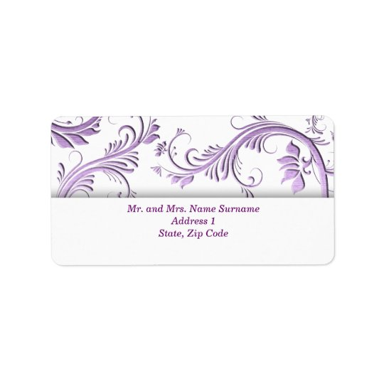 Purple floral swirl address label