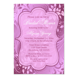 Purple Floral Swirl Bridal or Baby Shower Invite