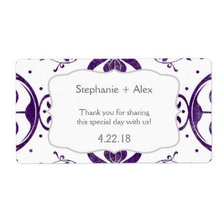 Purple Floral Swirl Wedding Water Bottle Favor Shipping Label