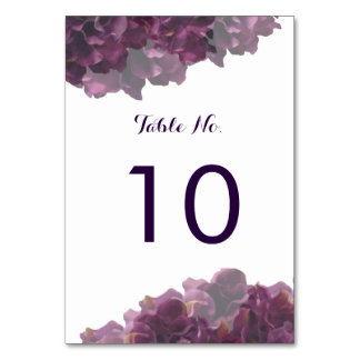 Purple Floral Table Number Card