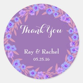 Purple floral Thank You Round Sticker