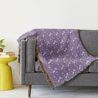Purple Floral Throw Blanket