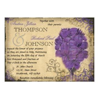 Purple Floral Vintage Wedding Invitation