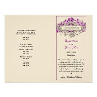 Purple Floral Vintage Wedding Program 21.5 Cm X 28 Cm Flyer