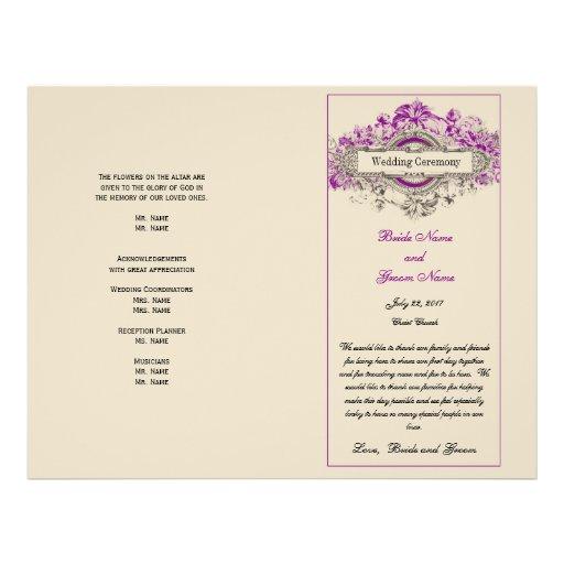Purple Floral Vintage Wedding Program Full Color Flyer
