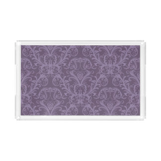 Purple floral wallpaper 2 acrylic tray