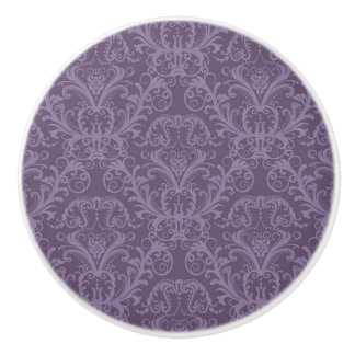 Purple floral wallpaper 2 ceramic knob