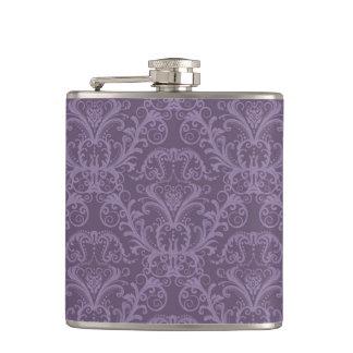 Purple floral wallpaper 2 hip flask