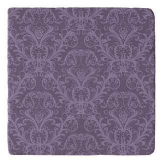 Purple floral wallpaper 2 trivet
