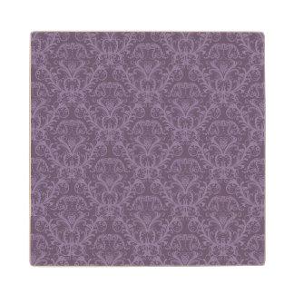 Purple floral wallpaper 2 wood coaster