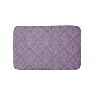 Purple floral wallpaper bath mat