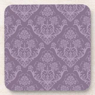 Purple floral wallpaper coaster